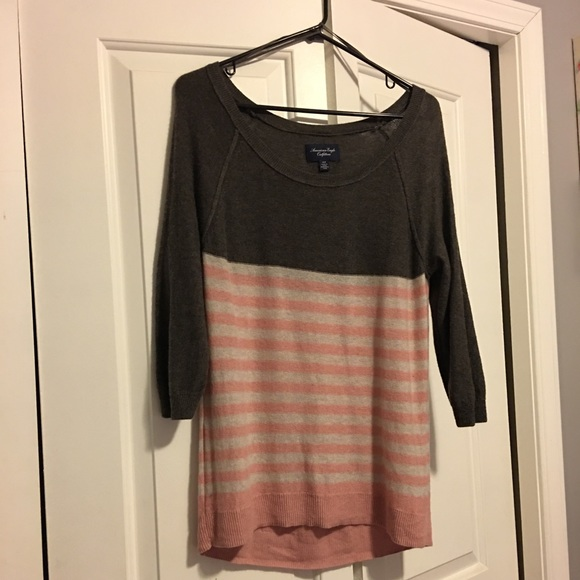 American Eagle Outfitters Sweaters - Light pink and gray striped sweater